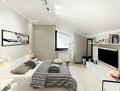 Матовый натяжной потолок для спальни