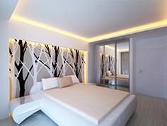 Сатиновый натяжной потолок для спальни